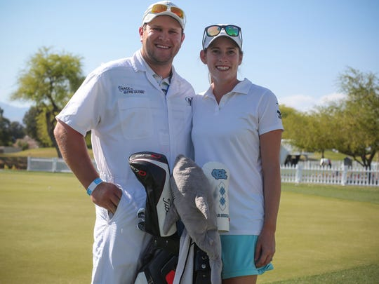 LPGA golfer Katherine Perry with Kevin Hamski her caddie and husband on Friday, March 31, 2017 during the ANA Inspiration at Mission Hills Country Club in Rancho Mirage.