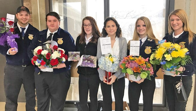 (From left) Dante Terrigno, Joey Miletta, Molli Chiari, Madison Lamb, Sara Loew and Kay Hyson, members of Cumberland Regional High School's Future Farmers of America, participated in the New Jersey State FFA Horticultural Exposition.