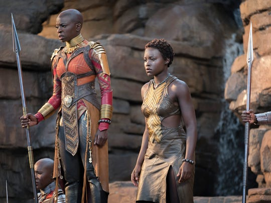 Okoye (Danai Gurira, left) and Nakia (Lupita Nyong'o) are warriors of the Dora Milaje, a female fighting force in 'Black Panther.'