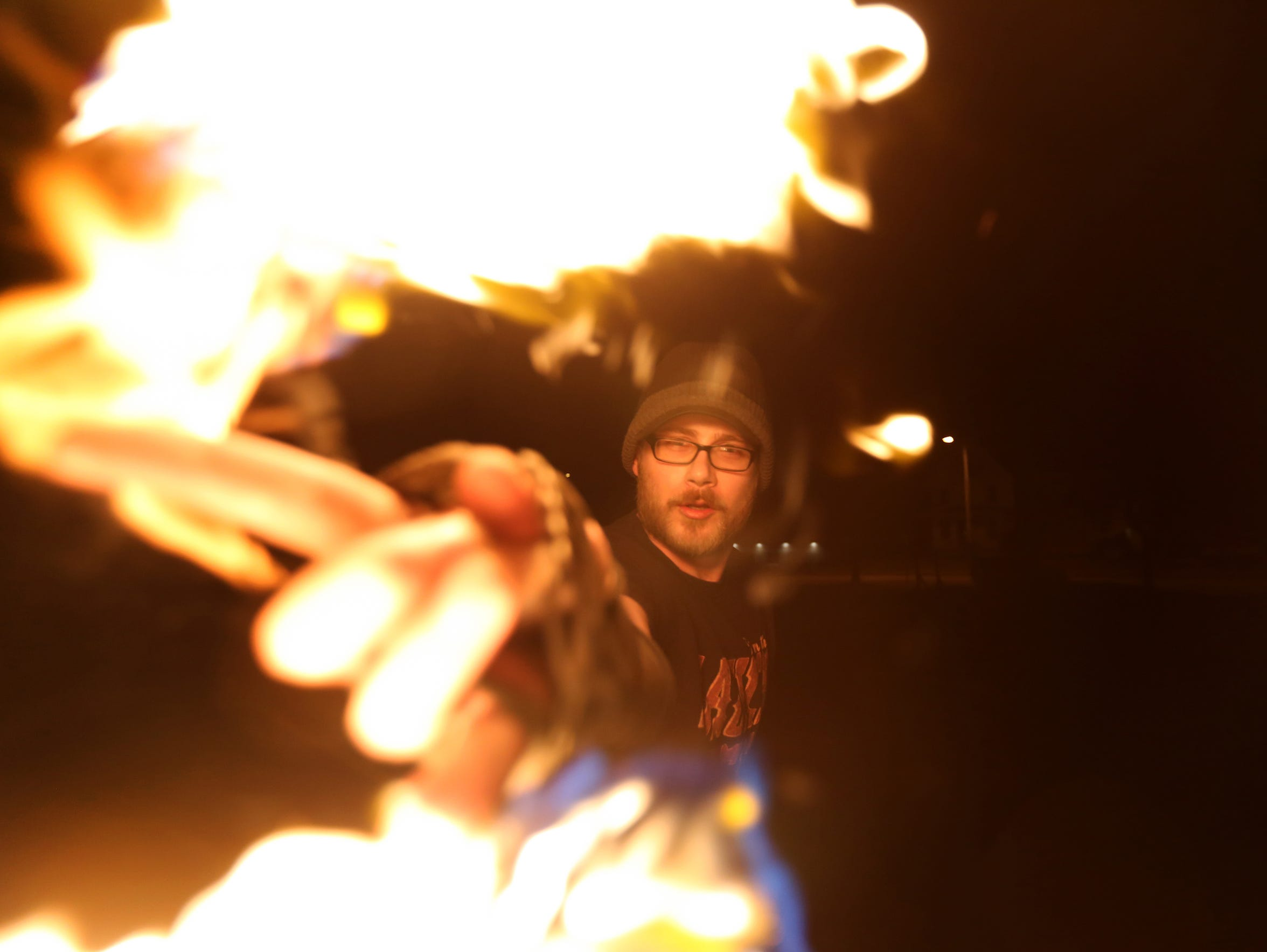 Cory Hanson, a fire performer with the Eastern Iowa