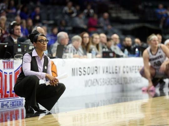 UNI head coach Tanya Warren watches her team face Missouri State during their MVC Tournament semifinal game at the TaxSlayer Center in Moline, Ill. on Saturday, March 10, 2018.