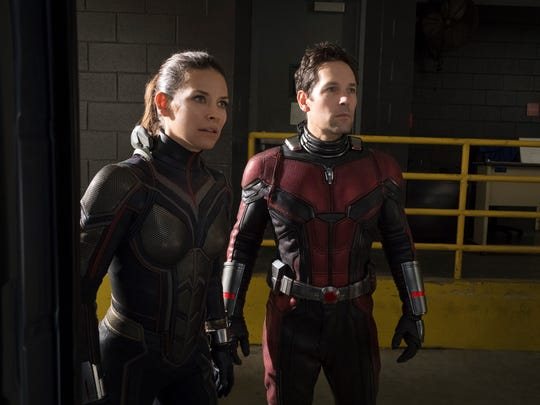 "Hope van Dyne (Evangeline Lilly) joins Scott Lang (Paul Rudd) in the superhero game in Marvel's ""Ant-Man and the Wasp"" (July 6)."