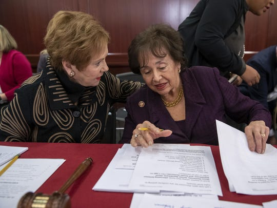 Rep. Kay Granger, R-Texas, left, ranking member of the House Appropriations Committee, speaks with Appropriations Chair Nita Lowey, D-N.Y., as a bipartisan group of House and Senate bargainers finished their first meeting to craft a border security compromise in hope of avoiding another government shutdown, at the Capitol in Washington, Wednesday, Jan. 30, 2019.