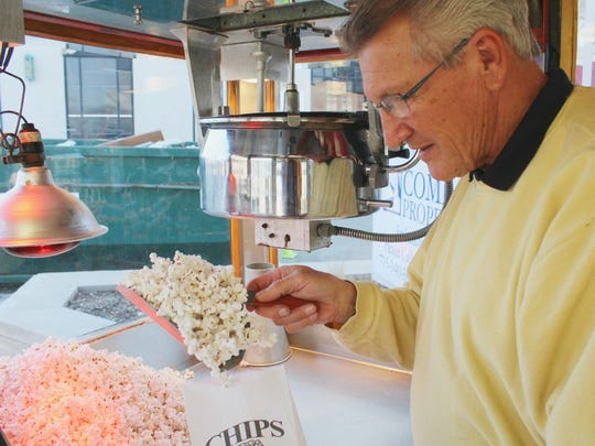 Chip Winter, 70, opened his seasonal popcorn wagon on April 1.