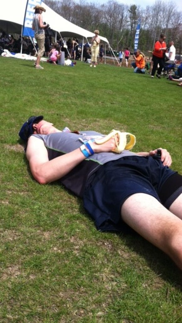 Recovering from a grueling race.