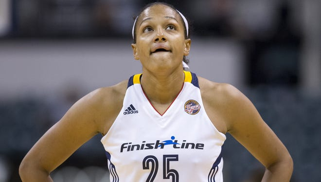 Marissa Coleman of the Fever, looks skyward during a tied up halftime against the San Antonio Stars at Indiana Fever, Bankers Life Fieldhouse, Indianapolis, Friday, July 10, 2015.