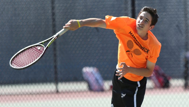 Mamaroneck's Connor Aylett competes in the boys tennis doubles finals at White Plains High School on May 24.