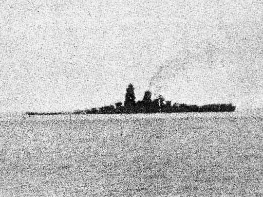 This picture taken on Oct. 24. 1944, shows Japanese battleship Musashi, which sank in the Sibuyan Sea in the Philippines after coming under blistering U.S. air raids.