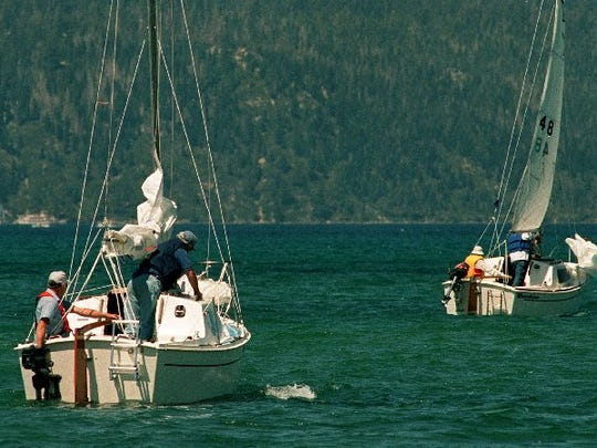 Sailboats head out onto Lake Tahoe from the Tahoe Keys Marina on their way to Emerald Bay in this file photo.