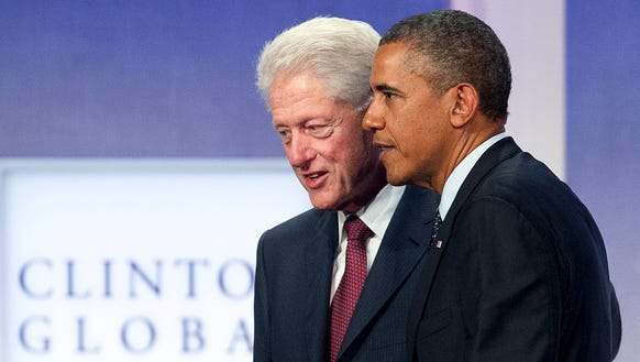 Bill Clinton and President Obama at the Clinton Global