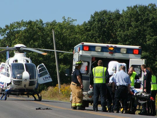 Bangs Ambulance, LifeNet helicopter and Newfield firefighters