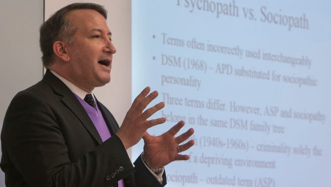 Richard Conti teaches a class in forensic psychology Kean University's Ocean County campus in Toms River.