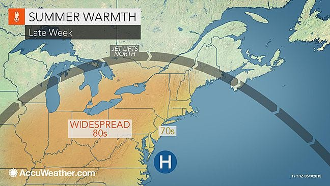 AccuWeather.com meteorologists say we should be in for a warm, bright and mostly dry week leading up to Mother's Day.