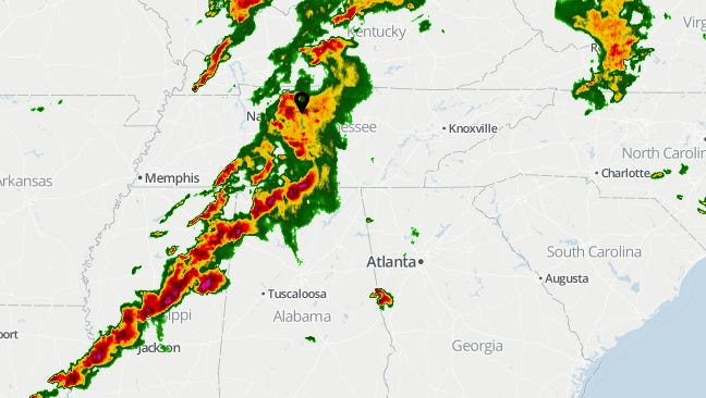 Radar image of Middle Tennessee from 5:48 p.m. on April 28, 2014.