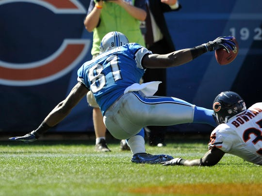 Officials determined Calvin Johnson did not complete the process of the catch in this game against the Bears in 2010.