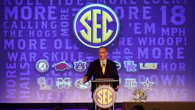 Woutheastern Conference commissioner Greg Sankey speaks during SEC media day.