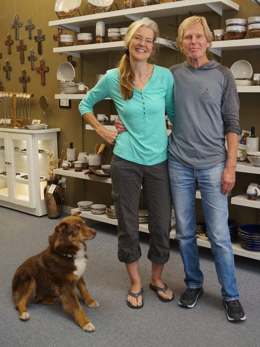 Left to right: Hershey, Corinna and Don Zimmerman at their shop, White Mountain Pottery at 2328 Sudderth Dr., at Ruidoso.