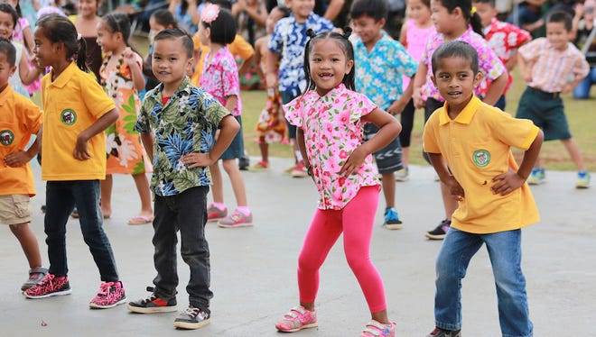 Students at Maria Ulloa Elementary School peform in their March 23 Mes Chamoru program. Students from all grade levels gave various musical and dance performances, stirring the crowd, which included first lady Christine Calvo, to sing and dance along.