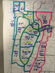 This hand-drawn map shows expected snowfall totals