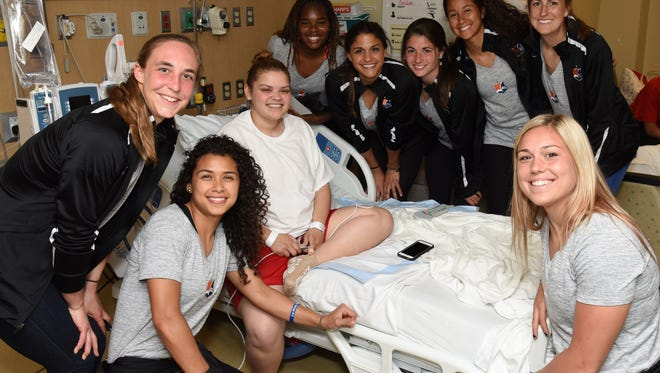 Sky Blue FC players brought well-wishes to 18 year old Jade, who was being treated at Hackensack Meridian Health K. Hovnanian Children's Hospital.
