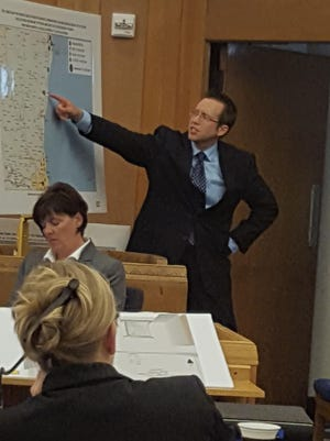 Assistant District Attorney Joel Urmanski points to a map detailing the travel patterns of Israel Littleton the night of a shooting in Sheboygan. Littleton was found guilty of attempted homicide Wednesday.