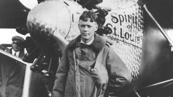 Aviator Charles Lindbergh completed the first solo airplane flight across the Atlantic Ocean on May 21, 1927.