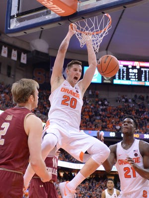 Syracuse's Tyler Lydon, a Pine Plains graduate, dunks during a game against Boston College in Syracuse on Jan. 14.
