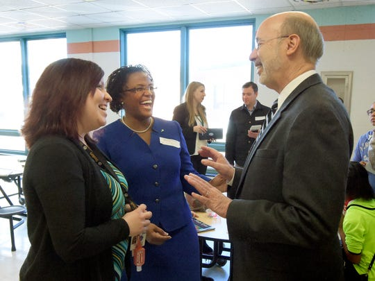 "Tom Wolf talks with Goode K-8 fourth-grade teacher Stefanie Moyar, left, and York City Mayor Kim Bracey during his visit to the school as part of his ""Schools that Teach"" tour Thursday, Feb. 18, 2016. Bill Kalina photo"