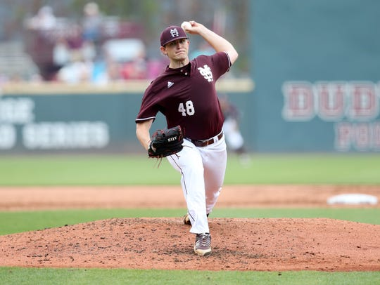 Konnor Pilkington delivers a pitch against LSU on Thursday