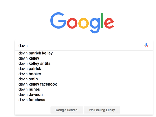 "A screenshot of a Google search for ""devin""."