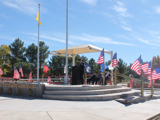 Holloman 49th Wing Chief Master Sgt. Scott Loescher honored veterans of the past and present at a Veterans Day ceremony at Veterans Park in Tularosa.