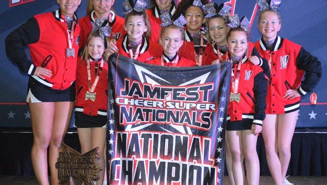 Jacks, a junior level 1 team , won first place in its division Jan. 16 and 17, 2016, at the Jamfest Cheer Super Nationals in Indianapolis.