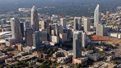 The skyline of downtown Charlotte, N.C., is shown in