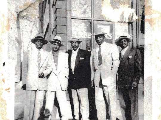 """Some of the regulars who hung out at Green Pastures in the 1950s included, from left, David Whittington, Richard Davis, Roland Coleman, George """"Dub"""" Aaron and Jasper Mayo."""