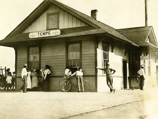 A wood-frame, Victorian depot, seen in a circa 1905 photograph, was the second erected at present-day Fifth Street and College Avenue, along the Phoenix & Eastern tracks to Mesa. It quickly replaced the original four-month old depot after it burned in 1903.
