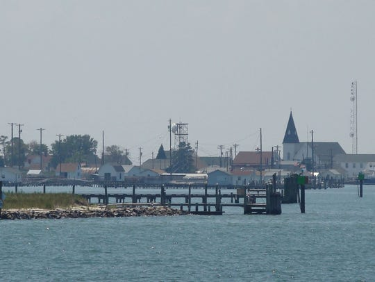 A panoramic view of Tangier Island as viewed from a