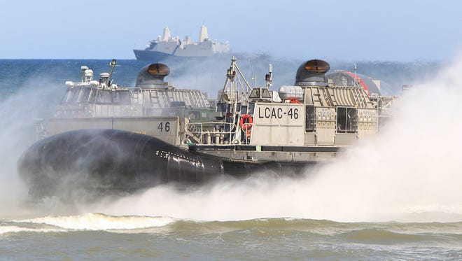 A hovercraft nears the beach as NATO troops participate in sea exercises at Ustka, Poland, on the Baltic Sea on June 17, 2015. The BALTOPS drills were meant to reassure Baltic  allies in the face of a resurgent Russia.