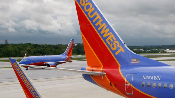 Southwest Airlines jets are seen at Baltimore-Washington