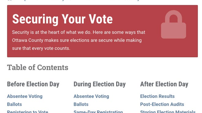 The Ottawa County Clerk's Office launched an online dashboard detailing the steps the office is taking to ensure election security.