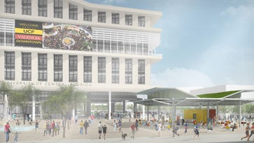 A rendering of the academic building that is set to be the focal point of Downtown UCF.