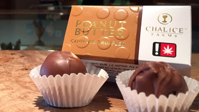 These peanut butter-flavored cannabis-infused truffles are intended for and marketed to humans. But a side industry in products intended for pets is raising concerns.