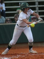 Lincoln's Emma Alley tries to bunt her way on base.