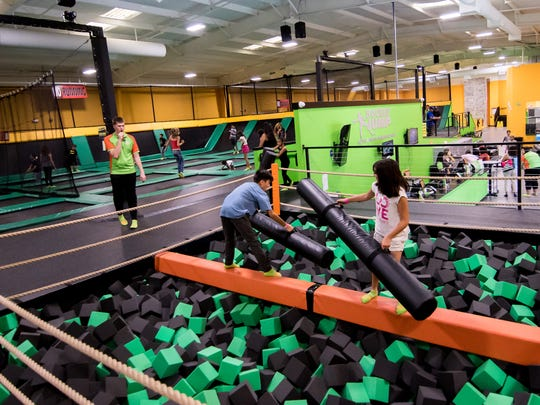 Lots of jumping activites and things for kids at Rockin' Jump trampoline park on September 30, 2017.
