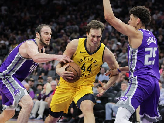 Indiana Pacers forward Bojan Bogdanovic (44) is fouled by Sacramento Kings center Kosta Koufos (41) during the first half at Golden 1 Center.