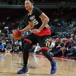 Ben Simmons (25) dribbles on the perimeter during the McDonalds High School All American Game at the United Center.