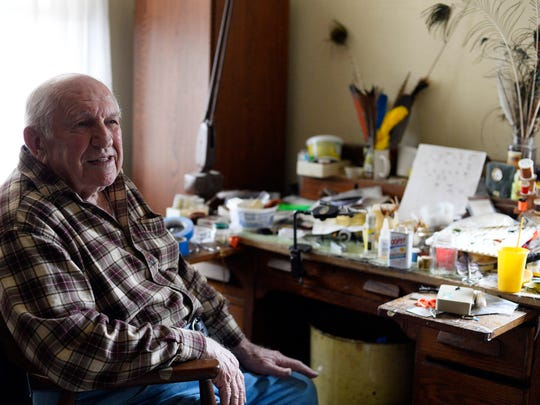 Ed Shenk at his workbench in Carlisle. Shenk, 89, is a famous fly fisherman, fly tier and author.