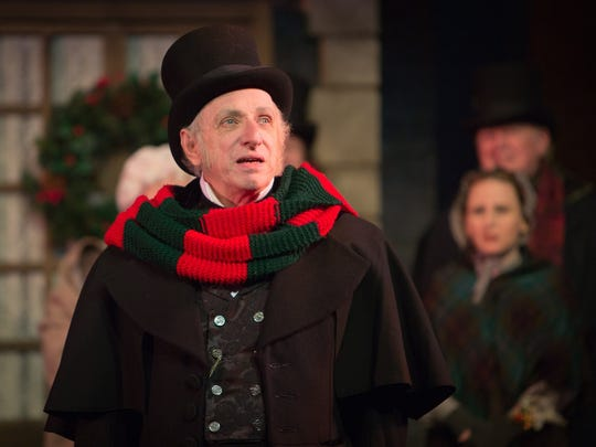 "Thomas D. Mahard is Ebenezer Scrooge in Meadow Brook Theatre's staging of ""A Christmas Carol."""