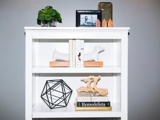 This bookshelf uses a more monochromatic scheme, with