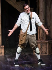 "Luke Striffler plays Luke (playing Dromio of Syracuse) in the Utah Shakespeare Festival's 2017 production of ""William Shakespeare's Long Lost First Play (abridged)."""