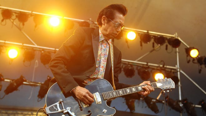 American singer Alejandro Escovedo performs with his band The Sensitive Boys at the 37th annual Vancouver Folk Music Festival on July 19, 2014 in Vancouver, Canada.